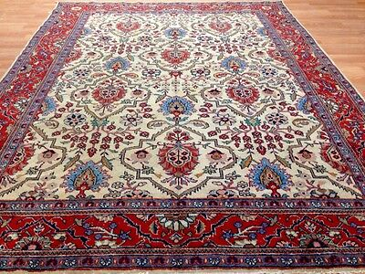 Magnificent Malayer - 1920s Antique Persian Rug - Ivory and Rust - 7.7 x 9.9 ft.