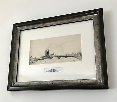 LS Lowry Original Graphite Line Drawing Urban River Hand Signed