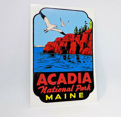 Acadia National Park Maine Vintage Style Travel Decal / Vinyl Sticker