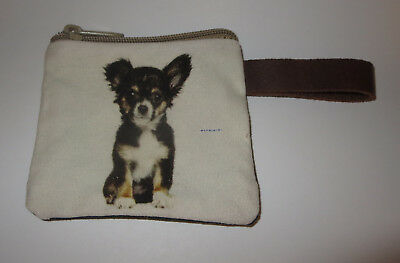"""Chihuahua Coin Purse Leather Strap New Zippered 4 1/8"""" Long Dog Black White"""