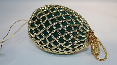 Christmas Ornament Green Velvet Gold Beaded Victorian