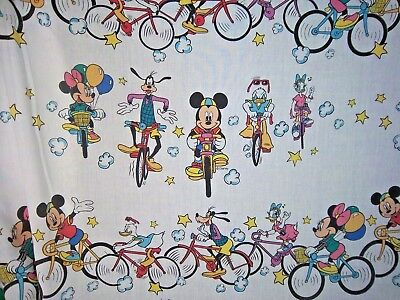 Vintage Disney Mickey and Friends Sheets Bicycles Cycling 1970s Craft Fabric