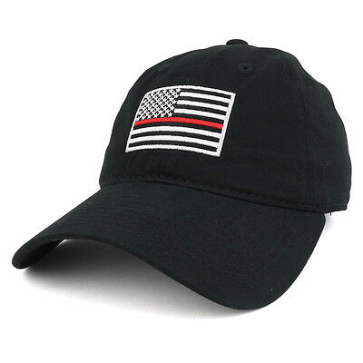 Thin Red Line Embroidered USA Flag Soft Fit Washed Cotton Baseball Cap