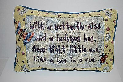 With a Butterfly Kiss Ladybug Hug Sleep Tight Little Accent Tapestry Pillow Baby
