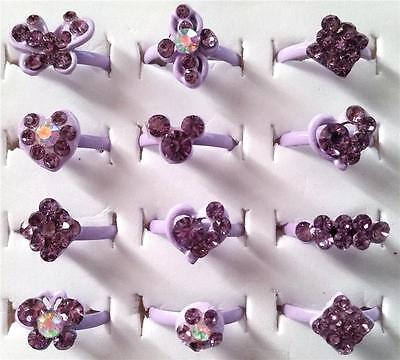 Bulk Lot x 10 Girls Rhinestone Party Rings Adjustable Purple Bands Mixed Colors