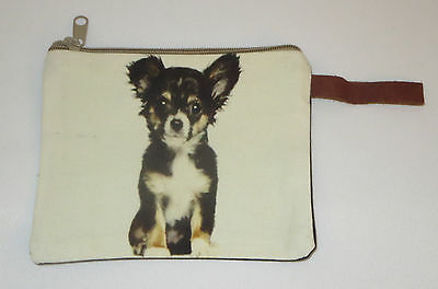 "Chihuahua Makeup Bag Leather Strap New Zippered 4"" x 6"" Dog Black White"