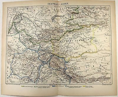 Original 1875 Map of Central Asia by Meyers