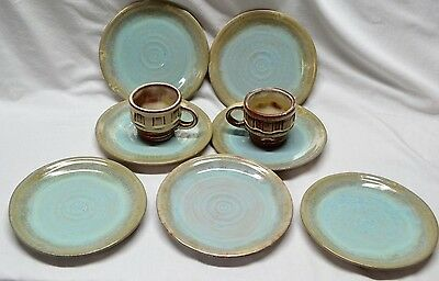 """FRANKOMA Set of 7 Plates MA304 (7 1/3"""" Diameter) Turquoise and 2 Cups 94C Brown"""