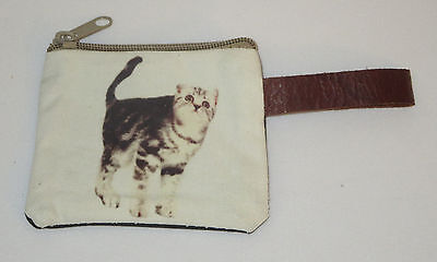 "Cat Coin Purse Leather Strap New Zippered 4"" Long Cats Pets Gray White Stripes"