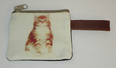 "Orange Tabby Cat Coin Purse Leather Strap New Zippered 4"" Long Cats Pets Stripes"