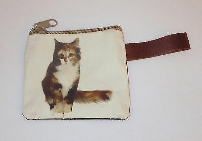 "Calico Cat Coin Purse Leather Strap New Zippered 4"" Long Cats Pets Kitten"
