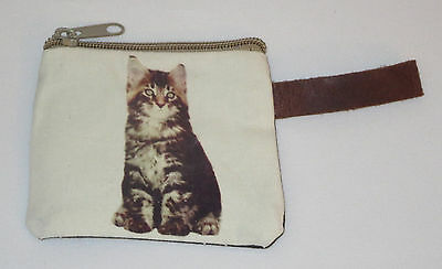 "Striped Cat Coin Purse Leather Strap New Zippered 4"" Long Cats Pets Kitten Tabby"