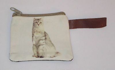 "White Cat Coin Purse Leather Strap New Zippered 4"" Long Cats Pets Kitten Stripes"