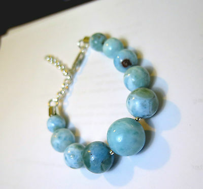 Beautiful light Blue Larimar ROUND BEAD SPHERE .925 Silver Bracelet 170-220mm