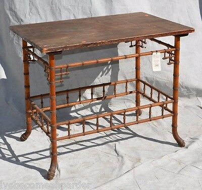 Antique Victorian Faux Bamboo Parlor Table
