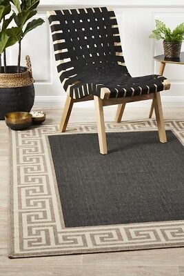 ABBY RUG 6508 CHARCOAL  Outdoor Washable Mat Durable Large Carpet FREE POST*