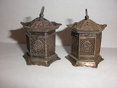 antique vintage  Japanese Lantern sterling silver salt and pepper shakers