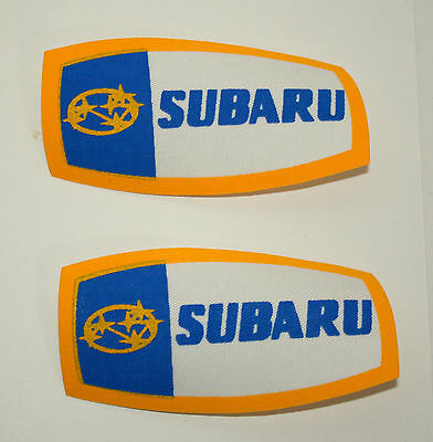 2 Vtg SUBARU Sales Service Automotive Car Dealer Thin Cloth Patch New NOS 1970s