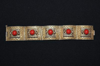 Antique Chinese Red Coral Silver Bracelet