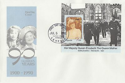 (95546) Uganda FDC WWII Blitz / Queen Mother 90th Birthday minisheet 1990