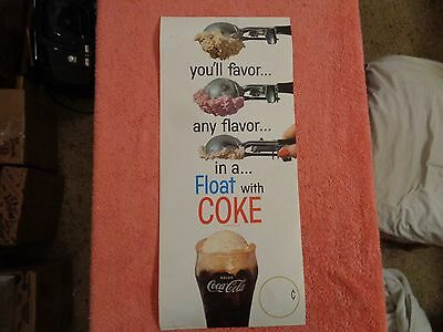 vintage  COCA COLA, HEAVY PAPER,CARDBOARD SODA SIGN. 1950-60'S. cool !!