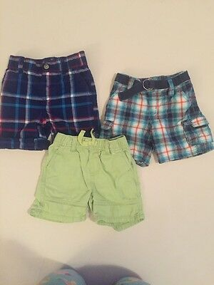 Gymboree 12-18 Months Boys Plaid Solid Shorts Lot Of 3