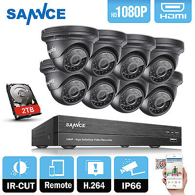 SANNCE 8CH 5in1 1080P DVR 8X2.0MP CCTV Security Camera System  Night Vision 2TB