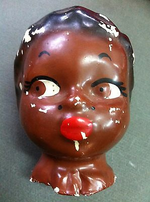 Antique Black Baby Doll Head Papier - Mache Head