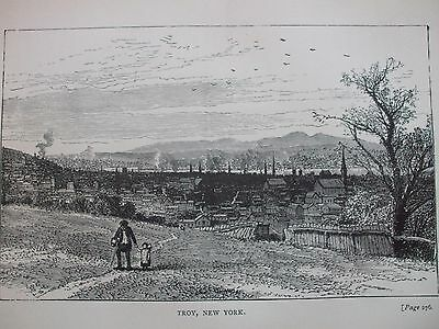 Antique Print 1884 Engraving Of Troy New York Usa President Garfield Etching