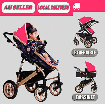 Pink Newborn Child Baby Foldable Pram Stroller Jogger &Bassinet Buggy Pushchair