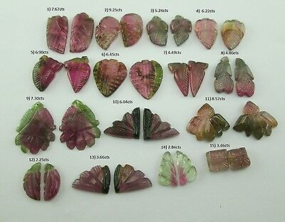 2.25 ~ 9.25Cts Fancy Pink Green Watermelon Color Tourmaline Gemstone Pairs