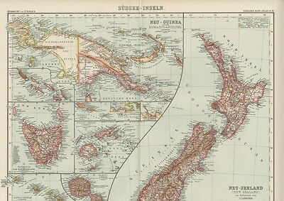 South Sea Islands Map (New Guinea; New Zealand ++) Large, Detailed & Dated 1908