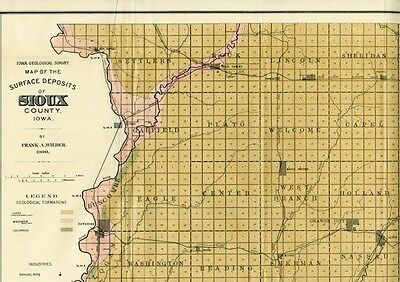 SIOUX County Iowa Map DATED 1900 with RRs, Towns, Cities, Primary Roads: Detail