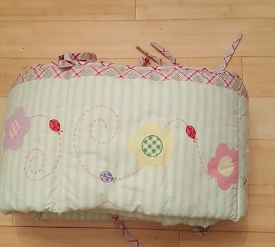 Baby Connection Pink Floral with lady nugs Baby Crib Bumper Pad