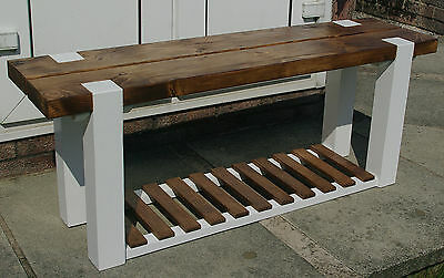 Hallway / Kitchen Bench-Chunky Solid Wood with Shoe Rack - Handmade to Order