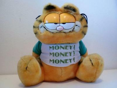 Rare Vintage Garfield Plush Soft Toy Doll Money Box Piggy Bank & Stopper 1980s