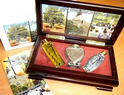 Easter Gift Set Jordan River Holy Water + Galilee Tree Olive Oil + Nazareth Soil