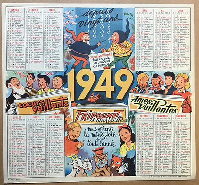 Calendrier Coeurs Vaillants 1949 - Neuf