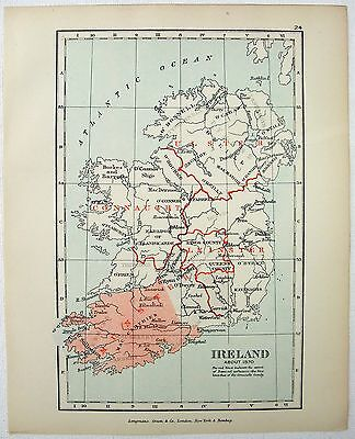 Vintage Longmans Map of Ireland About the Year 1570