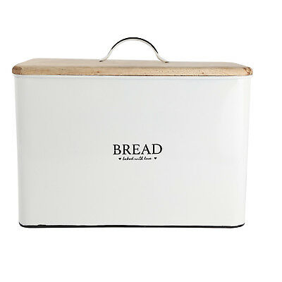 Heart Of The Home Bread Tin Bin Kitchen Storage Container Canister Wooden Lid