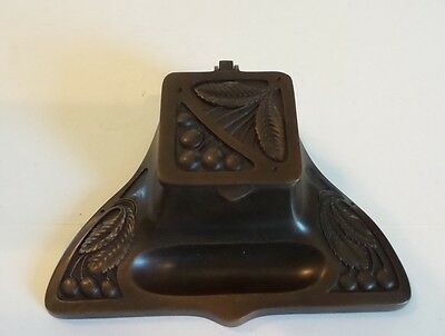 Unusual Antique Bronze Inkstand / Inkwell Decorated With Engraved Cherries