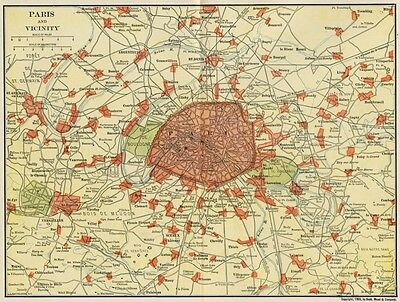 PARIS France & Vicinity Map: Authentic 1903 (Dated) Shows Area Surrounding City