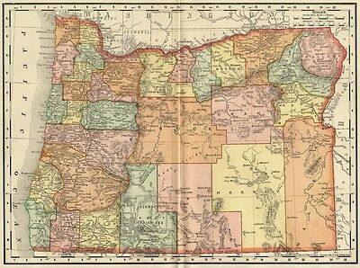 Oregon Map: Authentic 1895 (Dated) showing Towns, Counties, Railroads & More