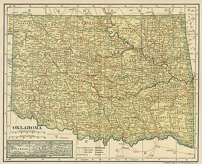OKLAHOMA Map: 100+ Years Old showing Counties, Towns, Topography, Railroads