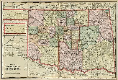 Oklahoma & Indian Territory Map: Authentic 1899; Tribes, Towns, RRs, Topog
