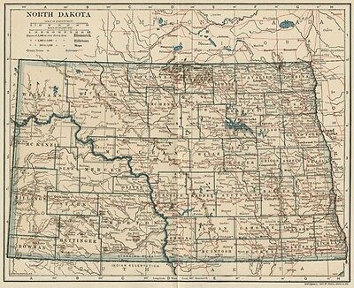 North Dakota Map: Authentic 1907 (dated) with Counties, Towns, Topog, Railroads