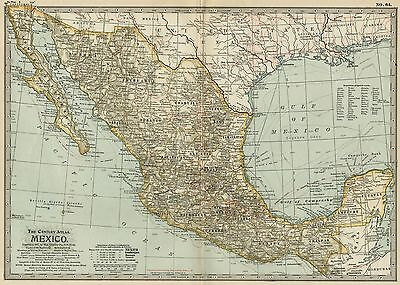 MEXICO Map: Authentic 1897 (Dated) States, Cities, Towns, Topography, Railroads