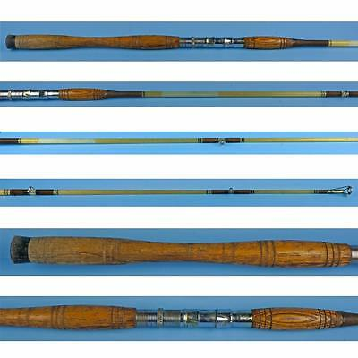 Vintage 6' Heavy Fiberglass Fishing Trolling Rod w/ Wood Handles - Maine Antique