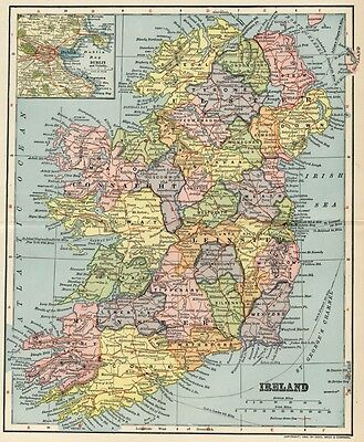 Ireland Map: Authentic 1903 (Dated) Towns, Cities, Railroads: w/ Dublin Inset