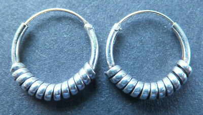 HOOP EARRINGS, Sterling Silver, 18mm *NEW* 1.5mm square edge, solid snap closure